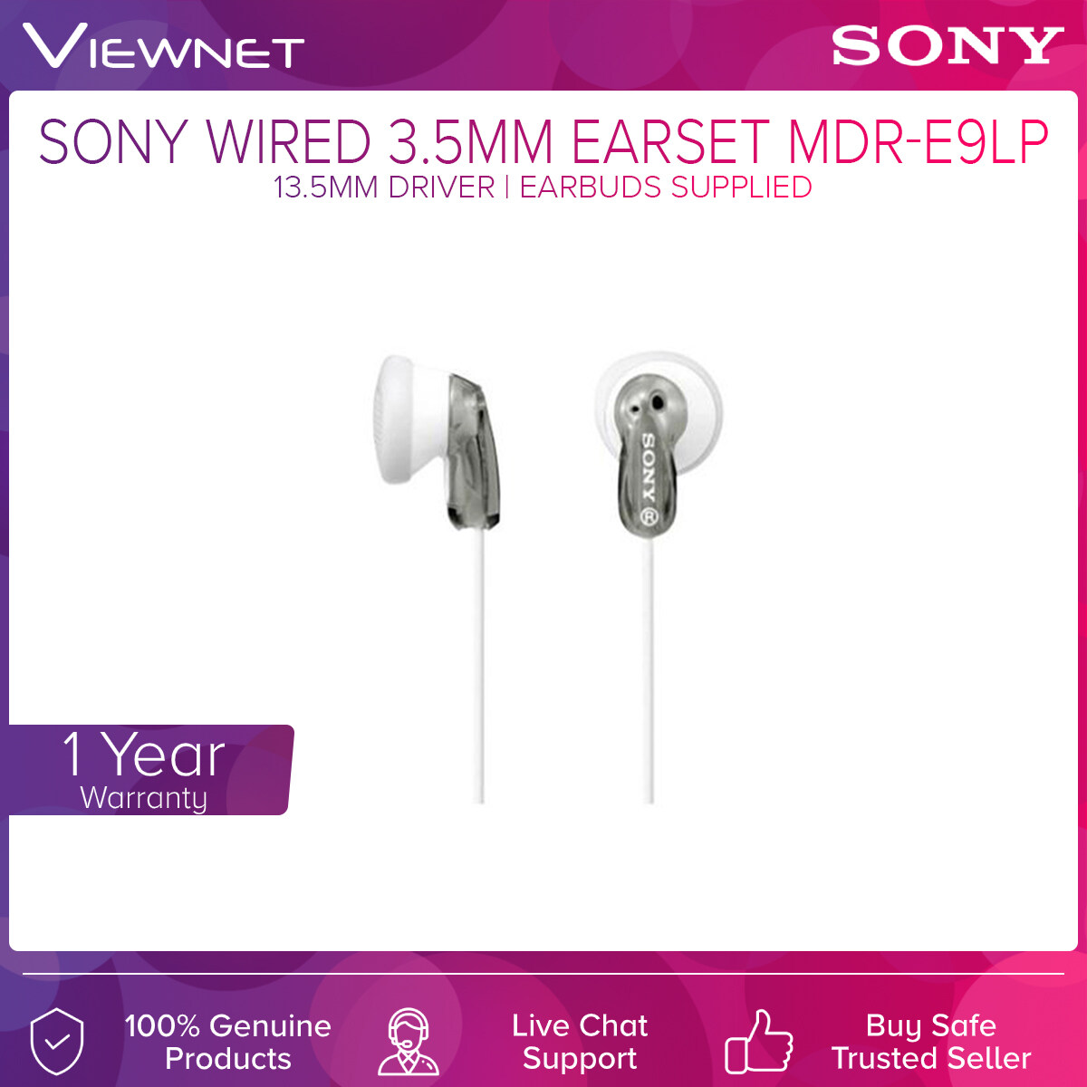 Sony Wired 3.5mm Earset MDR-E9LP with 13.5mm Driver, Earbuds Supplied, 1.2 Length Cable
