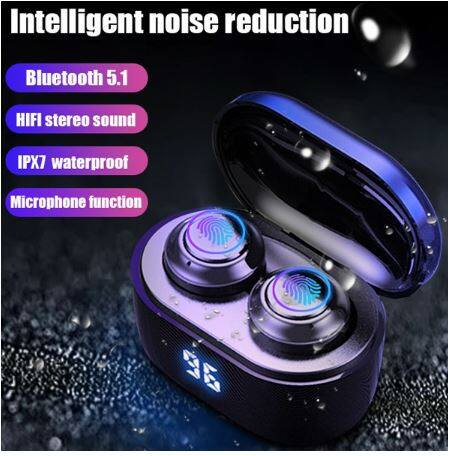 Best Bluetooth Earphones BE02 TWS 5.0 Wireless Earbuds LED Display Sensor Touch Control Headset AirDots