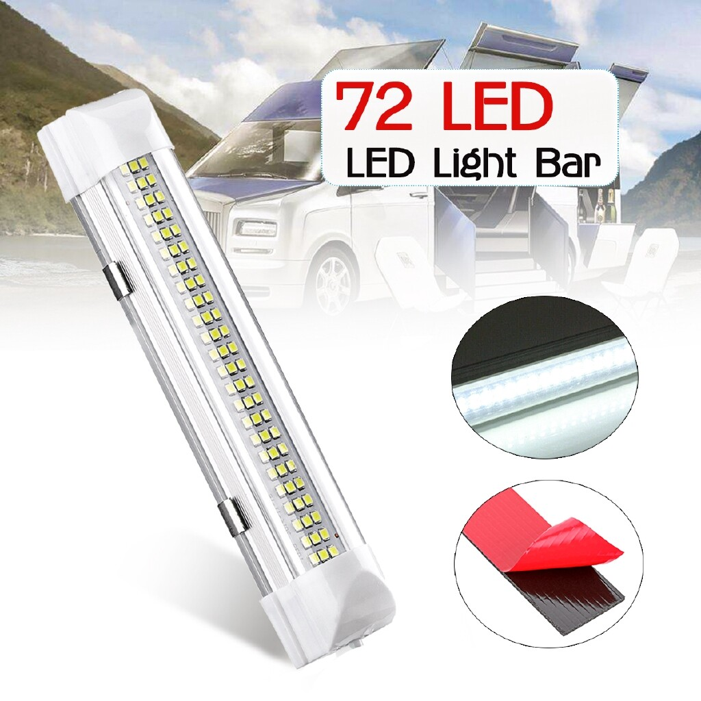 Car Lights - 12V Universal Car Interior 72 White LED Strip Lights Bar Lamp For Van Caravan mhestore2009 - Replacement Parts