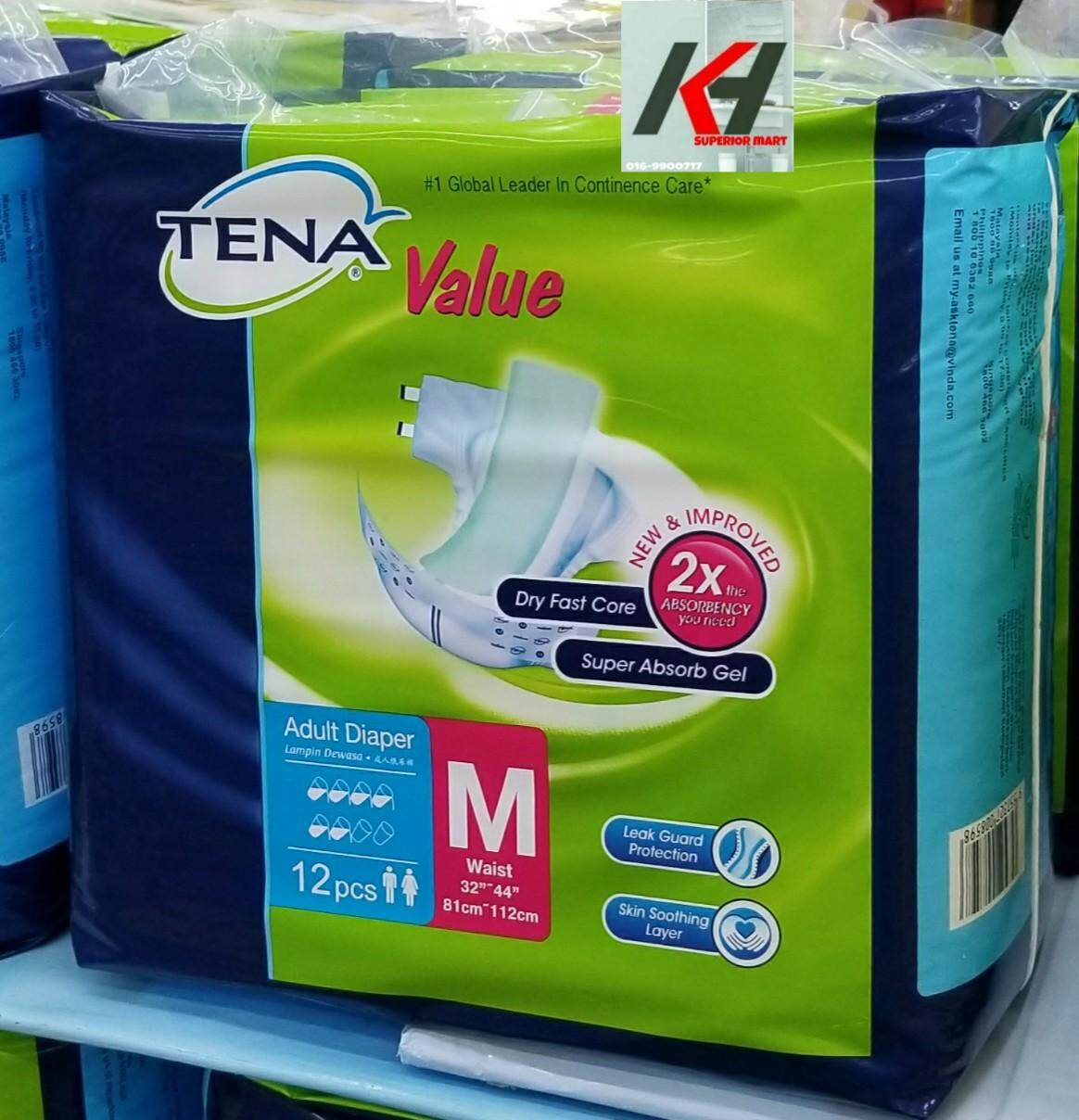 TENA VALUE ADULT TAPE DIAPER SIZE:M12 (1 PACKS) READY STOCK