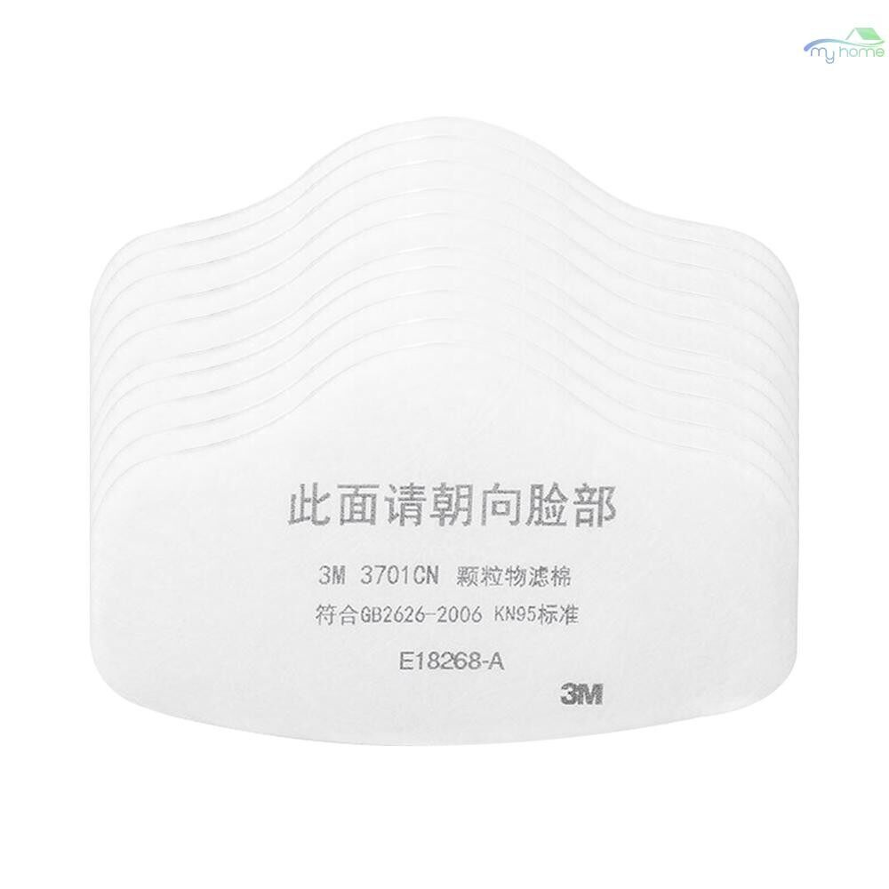 Protective Clothing & Equipment - 3M 3701 Anti Dust PM2.5 KN95 Mask Filter Cotton Face Masks Insert Protective Filter for Outdoor - WHITE