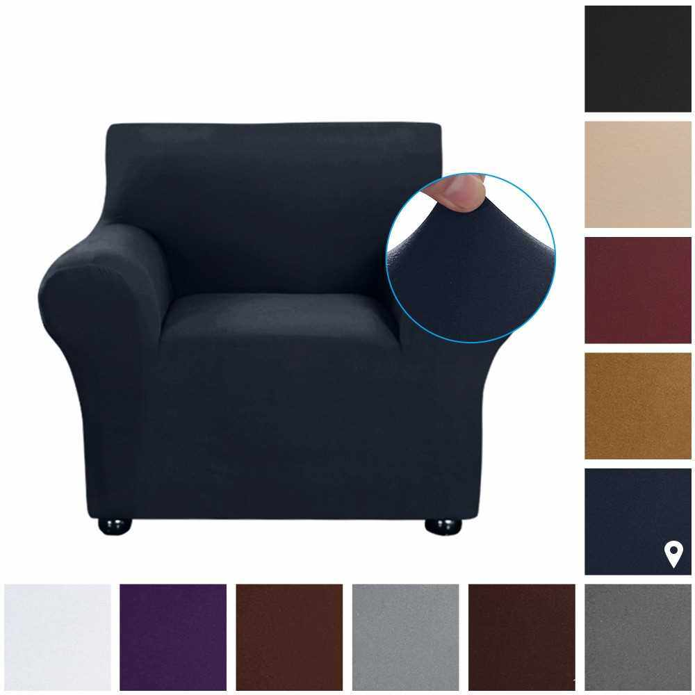 Stretch Sofa Slipcover Milk Silk Fabric Anti-Slip Soft Couch Sofa Cover 1 Seater Washable for Living Room Kids Pets(Dark Blue) (Type 1)