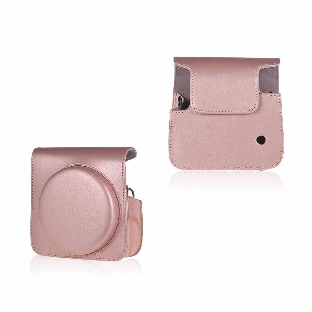 Andoer Protective Case PU Leather Bag with Adjustable Strap for Fujifilm Instax Square SQ6 Instant Film Camera Black (Pink)