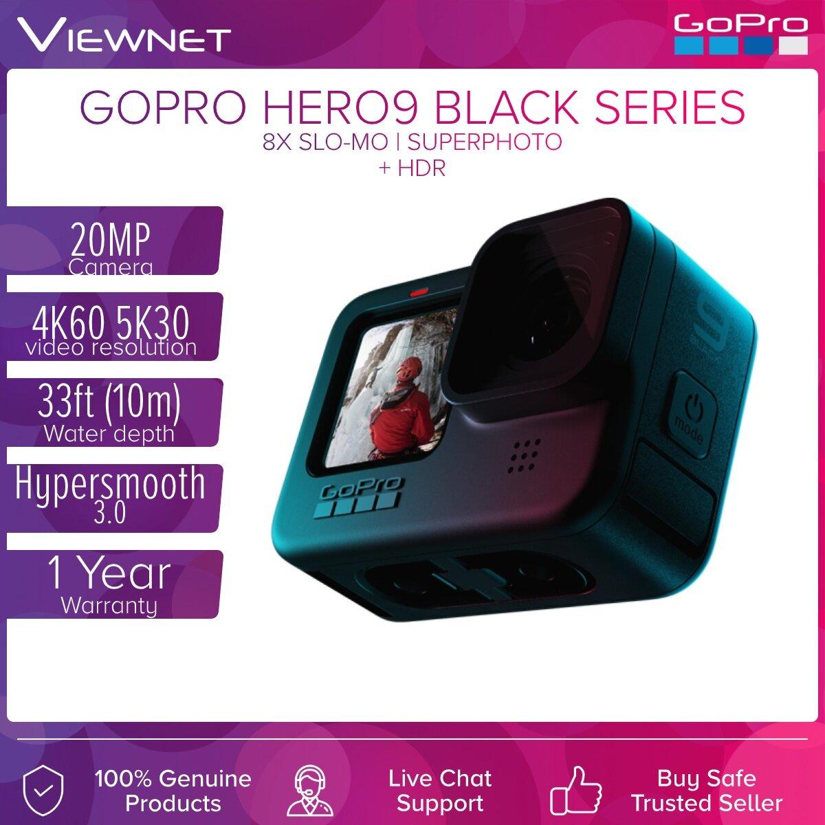 GOPRO HERO 9 Black / HERO 9 / Hero9 / HERO 9 BUNDLE 5K Video 20MP Streaming Camera Built-In Mounting with Folding Fingers  HERO9 Black Mods Compatibility 1 Year Warranty