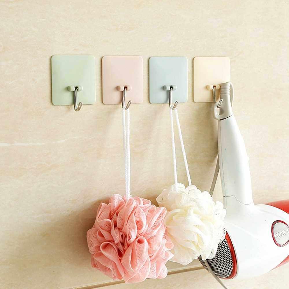 Plastic Seamless Strong Nail Hook Bathroom Kitchen Glue Sticky Magic Door Hook Coat Hook Door Versatility Hanger (Pink)