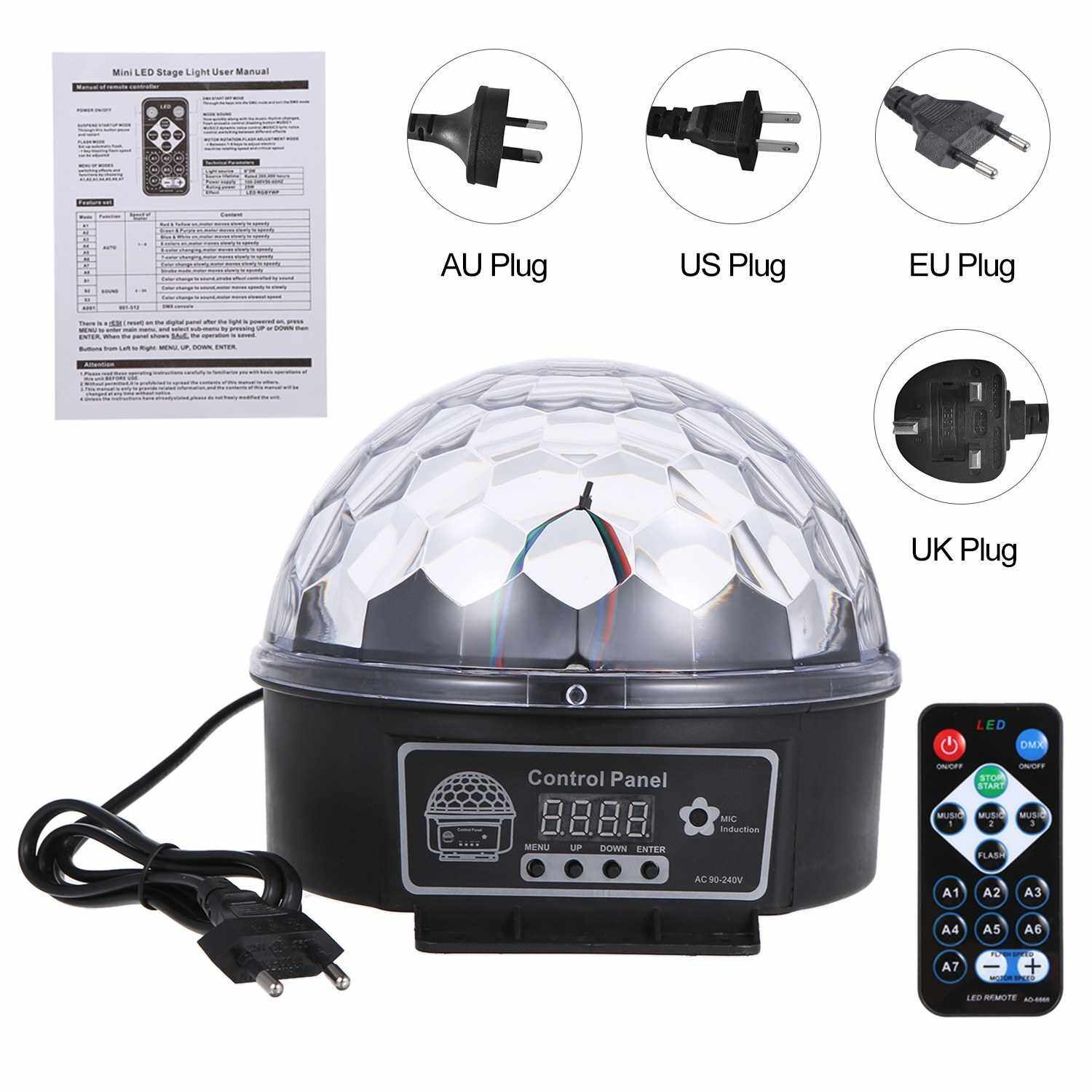 People's Choice DMX512 LEDs Ball Stage Light with Remote Control 6 Channel Sound Activated Party Lights 6 Colors Stage Par Lighting for Disco DJ Club Dance Party (Eu)