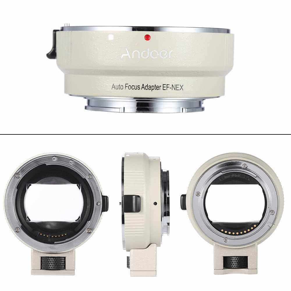 Best Selling Andoer Auto Focus AF EF-NEXII Adapter Ring for Canon EF EF-S Lens to use for Sony NEX E Mount 3/3N/5N/5R/7/A7/A7R/A7S/A5000/A5100/A6000 Full Frame (White)