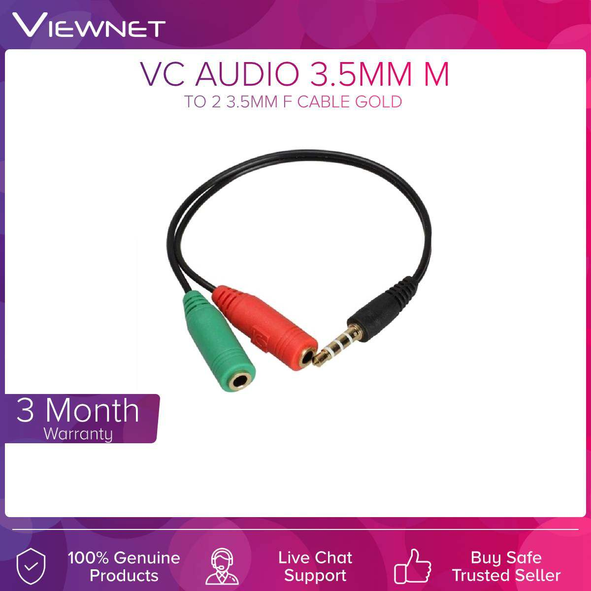 VC Audio 3.5MM M To 2 3.5MM F Cable Gold