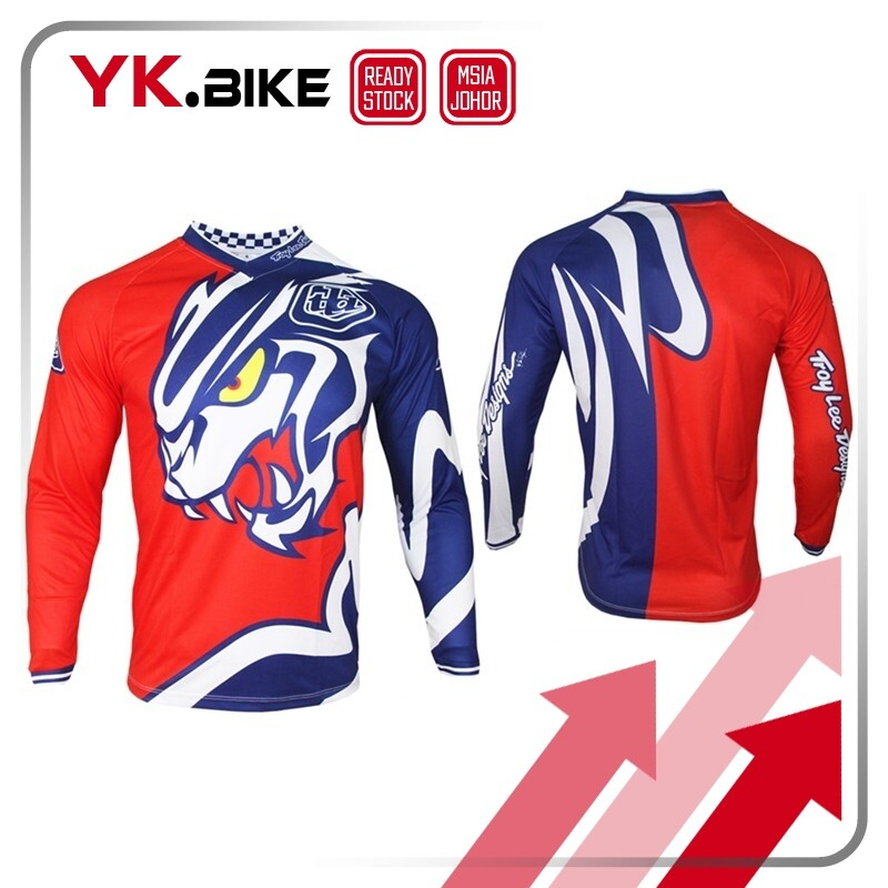 YKBIKE [LOCAL READY STOCK] Red Tiger Downhill Jersey V Neck Long Sleeve T-shirt Sport Outdoor Motocross Jersey Bicycle APL914
