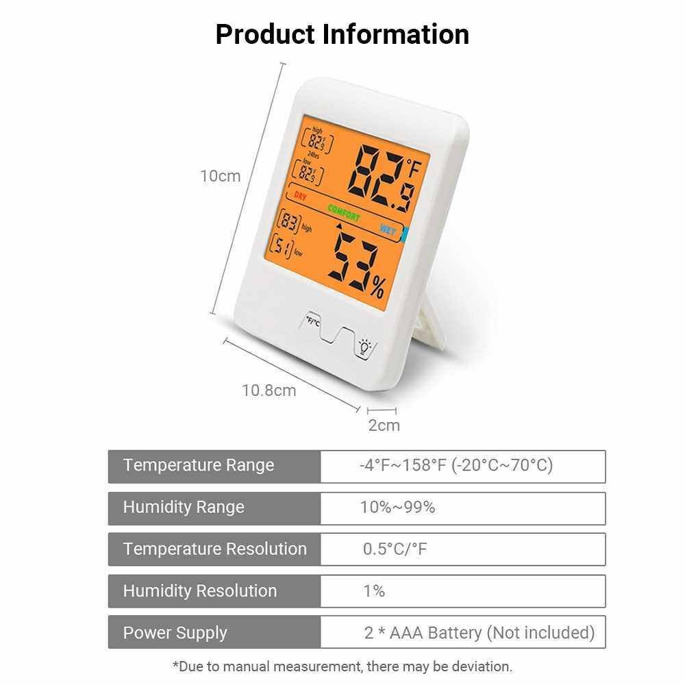 Digital Hygrometer Indoor Thermometer Humidity and Temperature Meter Monitor Sensor with Backlight Accurate Reading for Home Office Babyroom (White)