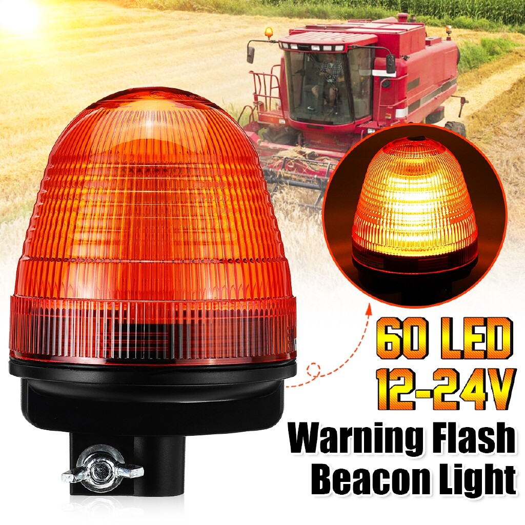 Car Lights - 60 LED Emergency Flash Strobe Rooftop Rotating Beacon Warning Light Amber 12-24V - Replacement Parts