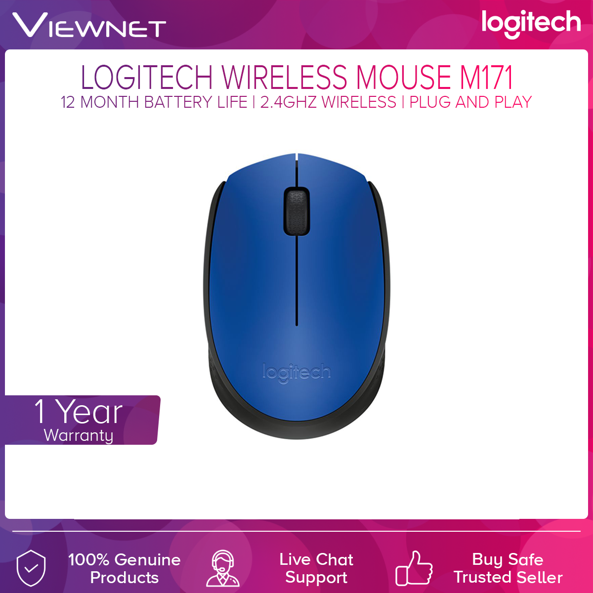 Logitech Wireless M171 Blue/Grey/Red Mouse (910-004656/910-004655/910-004657)