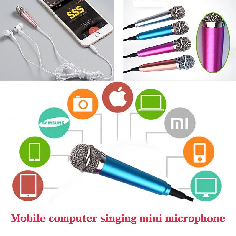 MINI Mobile Phone Microphone Sing Artifact with Wired Headphones One Microphone - ROSE RED / SILVER / BLUE / GOLD