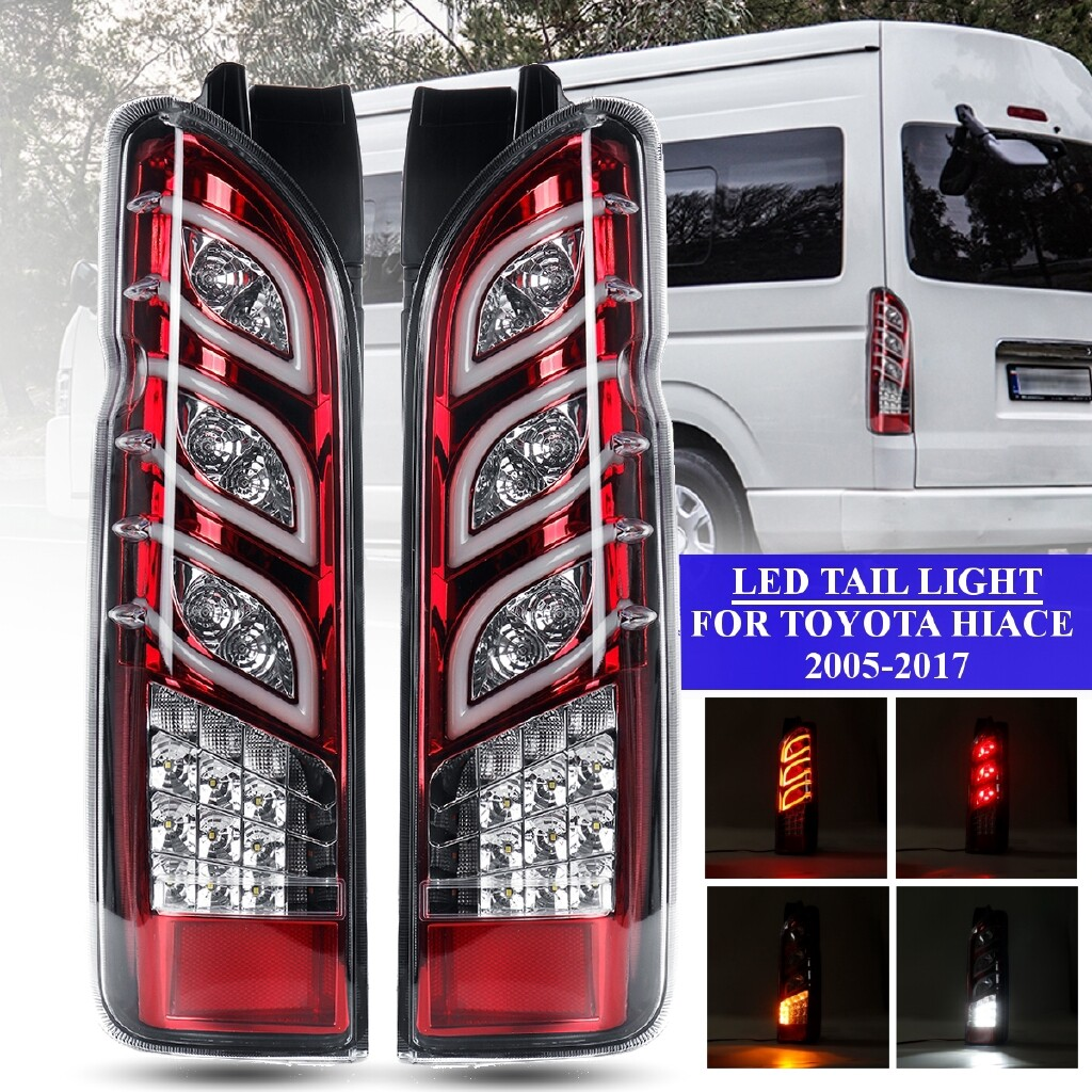 Car Lights - Pair LED Rear Tail Light Turn Signal Reverse Lamp Red For Toyota Hiace 2005-2017 - Replacement Parts