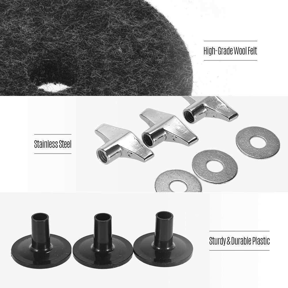 Pack of 18 PCS Drum Kit Accessories Set Cymbal Stand Felts Hi-Hat Clutch Felts Hi Hat Cup Felts Cymbal Wing Nuts Cymbal Sleeves and Metal Gaskets Replacement Grey (Grey)