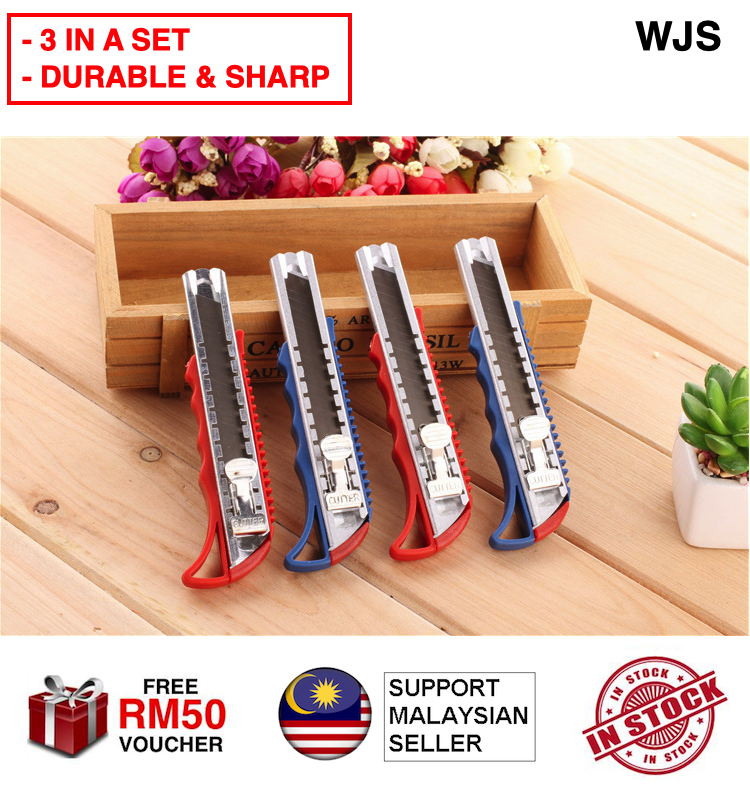 (3 IN A SET) WJS Large Stainless Steel Cutter Knife Office Blade Office Knife Office Cutter Stationery MULTICOLOR [FREE RM 50 VOUCHER]