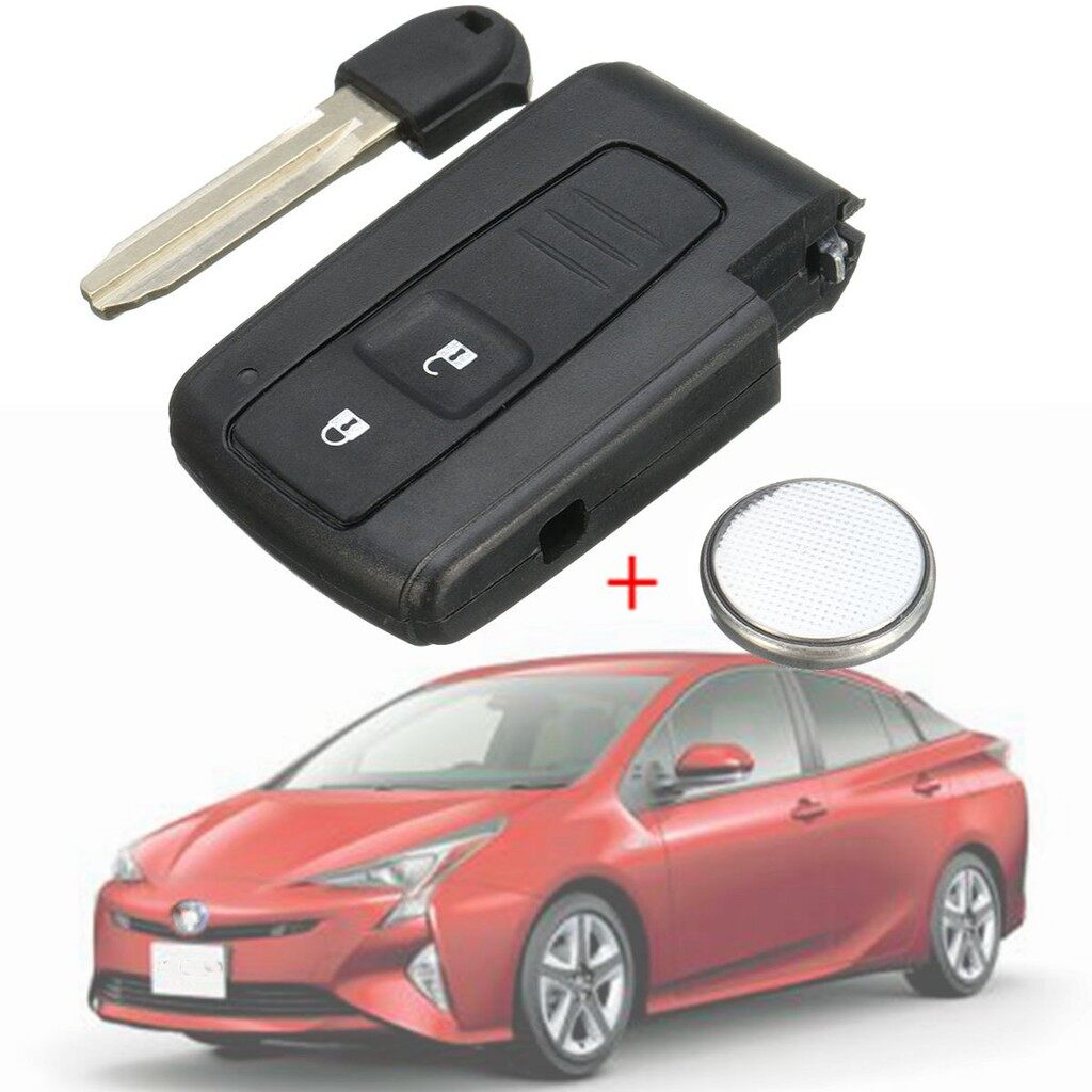 Batteries - Key Shell Fob Remote Smart Case Blade +Battery For Toyota Prius Corolla Verso - Car Replacement Parts