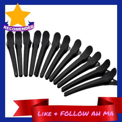 12Pcs Sectioning Clips Plastic Hair Clamp Grips Hairdressing Styling Salon Tool (Black)