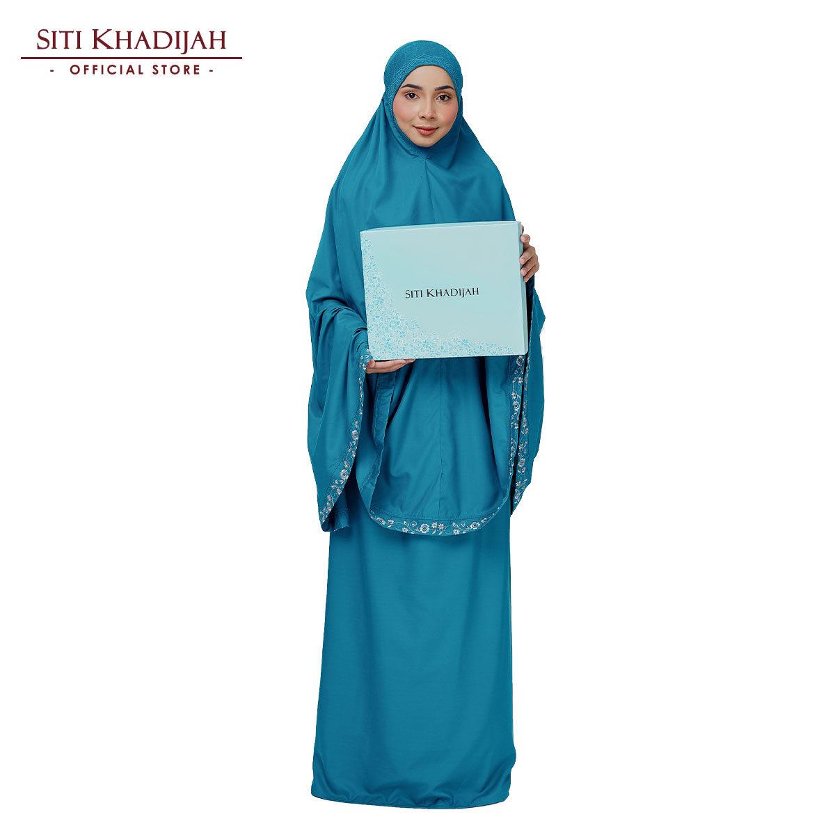 Siti Khadijah Broderie Eshal in Turquoise (Free Box)