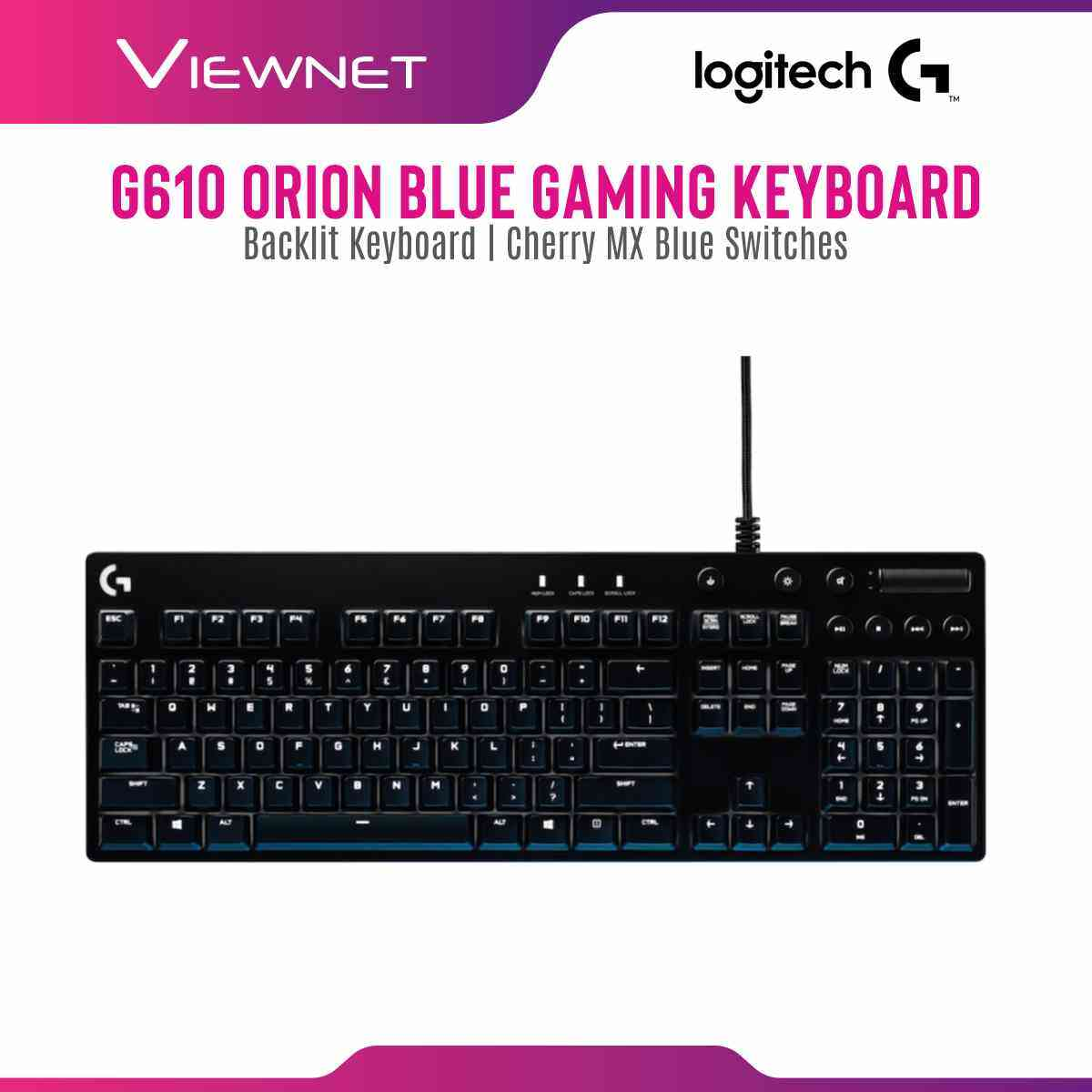 Logitech G610 Orion Blue Mechanical Gaming Keyboard with Cherry MX Blue Switches Media Control Logitech Software Support