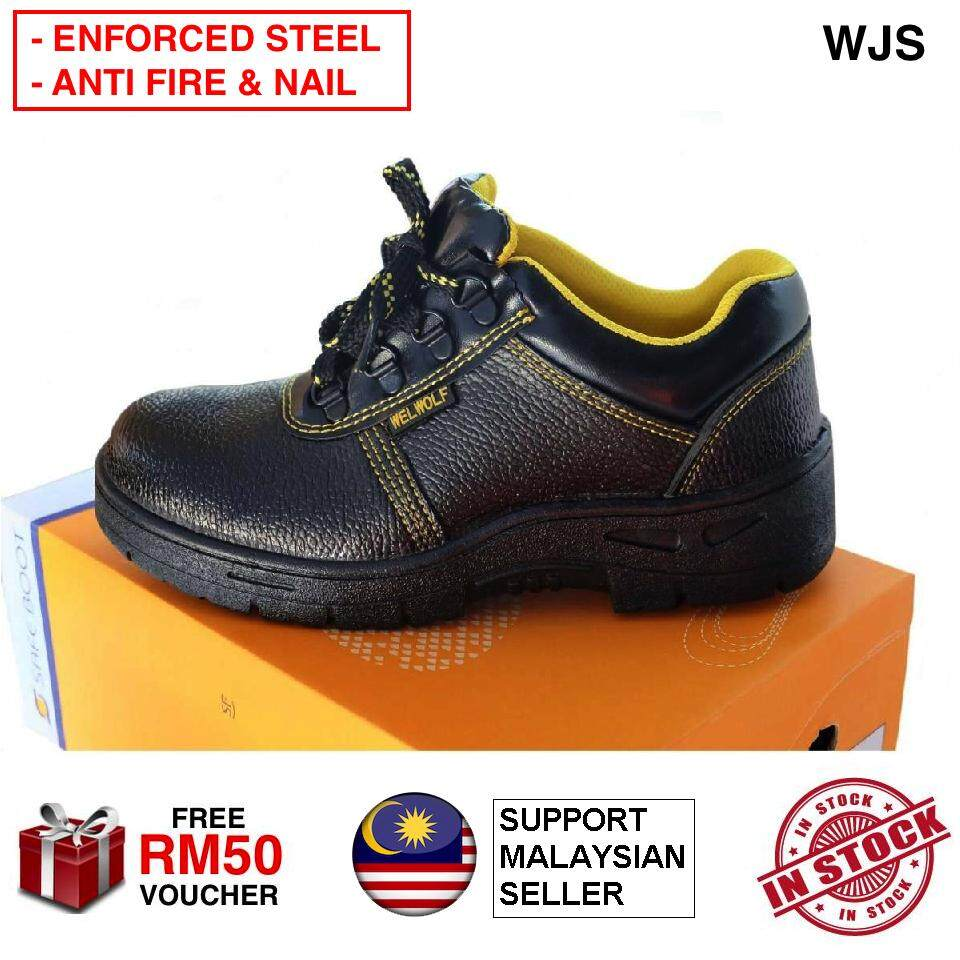 (HIGH & LOW ANKLE OPTION) WJS Enforced Steel Plate Men Safety Shoe Safety Boots Factory Boot Mid-Cut Genuine Leather with Steel Cap and Steel Sole Protection Anti Fire Leather Anti Nail Anti Penetration HIGH ANKLE LOW ANKLE BLACK [FREE RM 50 VOUCHER]