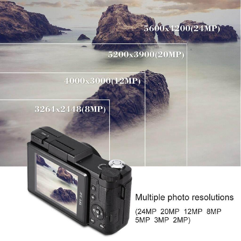 Point & Shoot Cameras - Digital Camera Vlogging Camera Full HD 1080P 24MP Camcorder 3.0 Inch Flip Screen