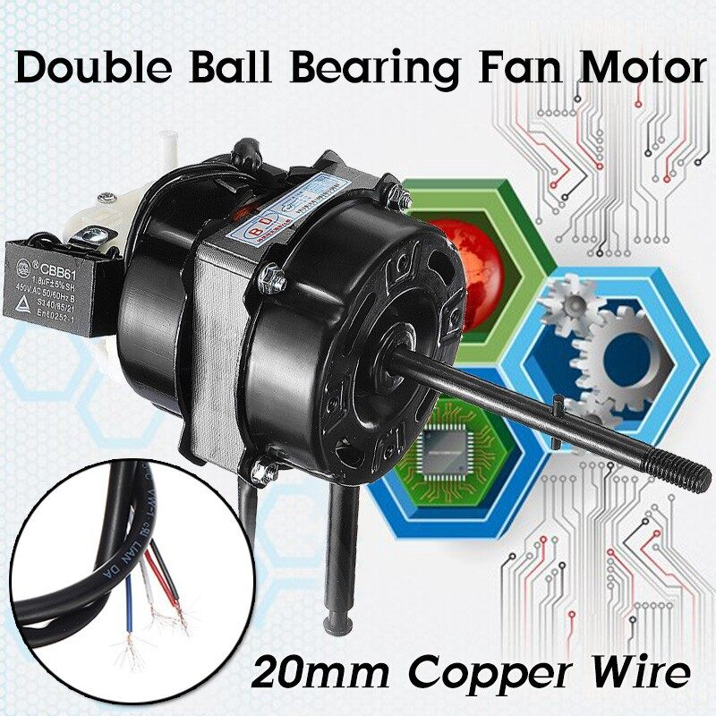 Moto Accessories - Fan Motor 20mm Copper Wire Double Ball Bearing AC 220V 60W Pure Copper Motor - Motorcycles, Parts