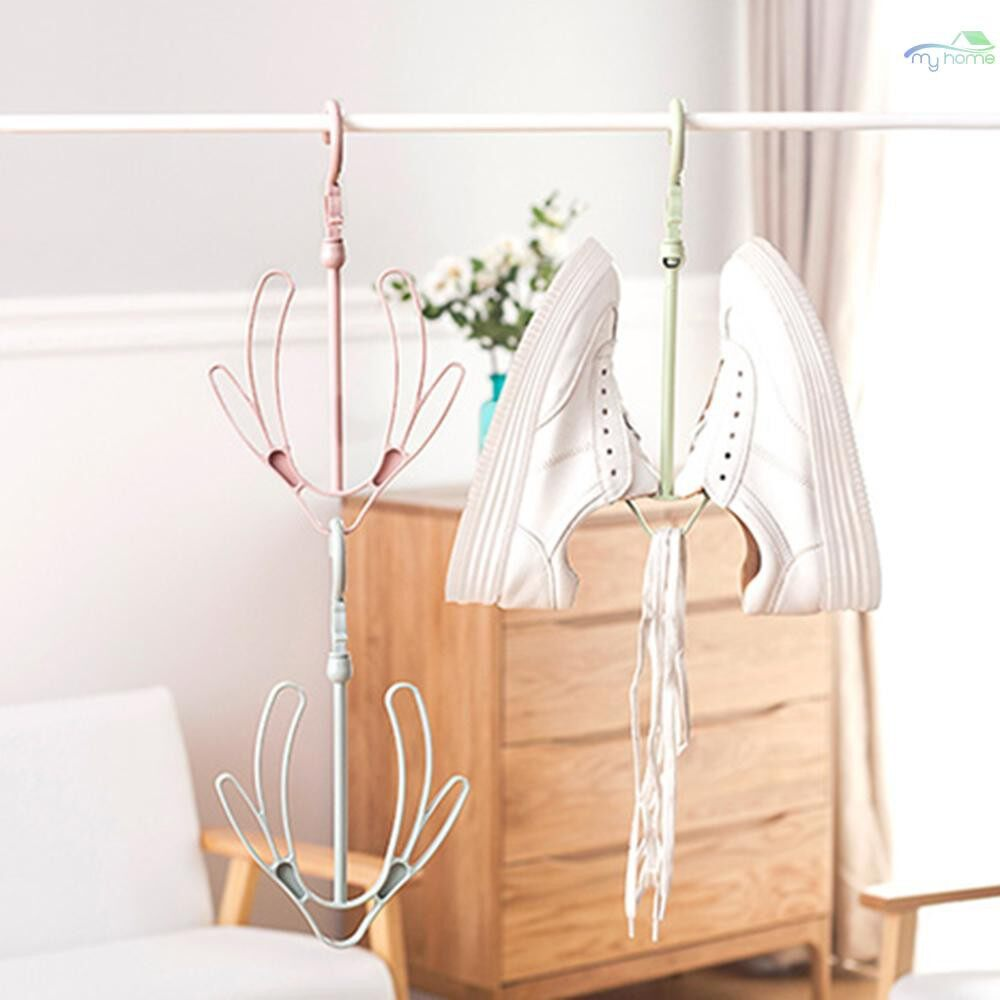 Lighting - 1 Piece Plastic Drying Rack Shoes Hanging Storage Shelf 2 Hooks Shoes Stand Hanger Organizer - LIGHT BLUE / LIGHT GREEN / LIGHT PINK