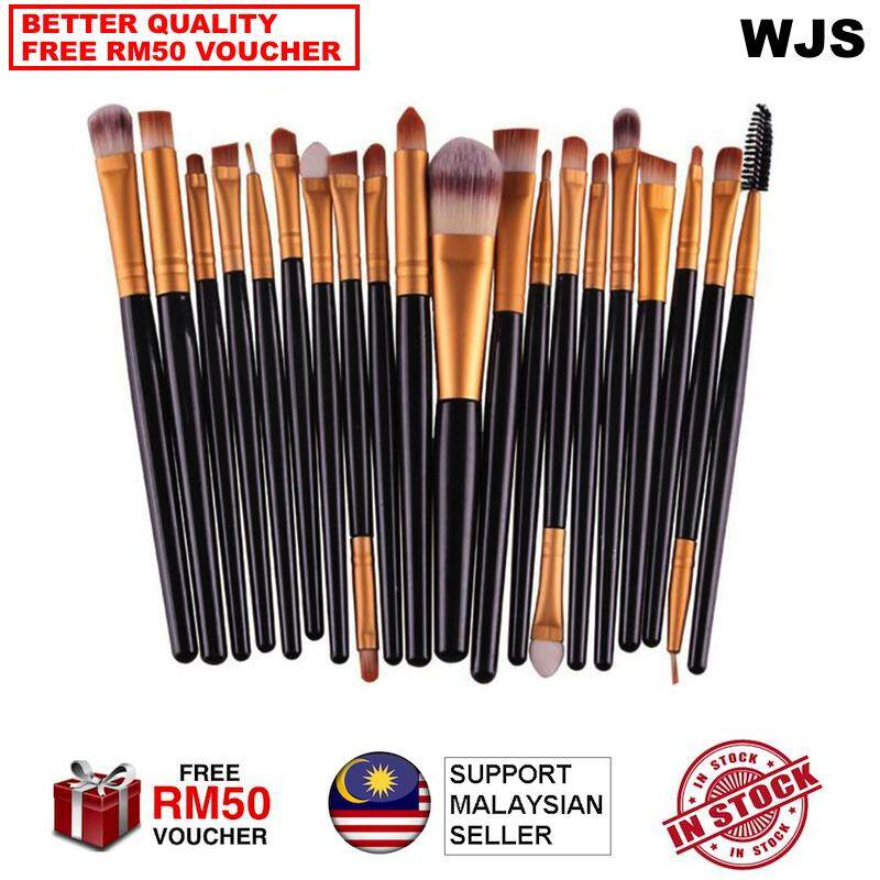 (HALAL BRUSH) WJS HALAL 20 pcs 20pcs Mini Make Up Brush Travel Set Makeup Brush Set Tools Makeup Toiletry for Travelling Portable Kit Black Gold [FREE RM50 VOUCHER]
