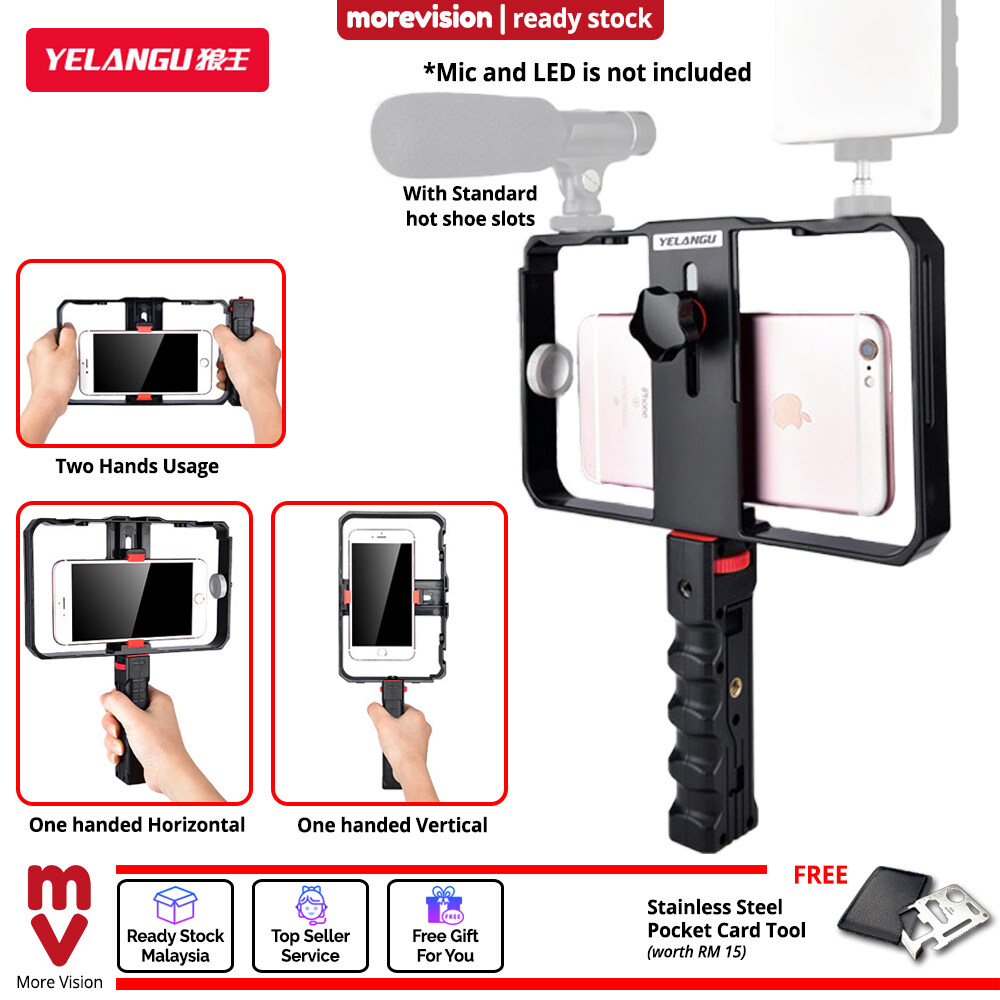 Phone Video Recording Holder with Handle Handheld Gimbal Stabilizer Camera Light Mic Slot for Outdoor Live Streaming