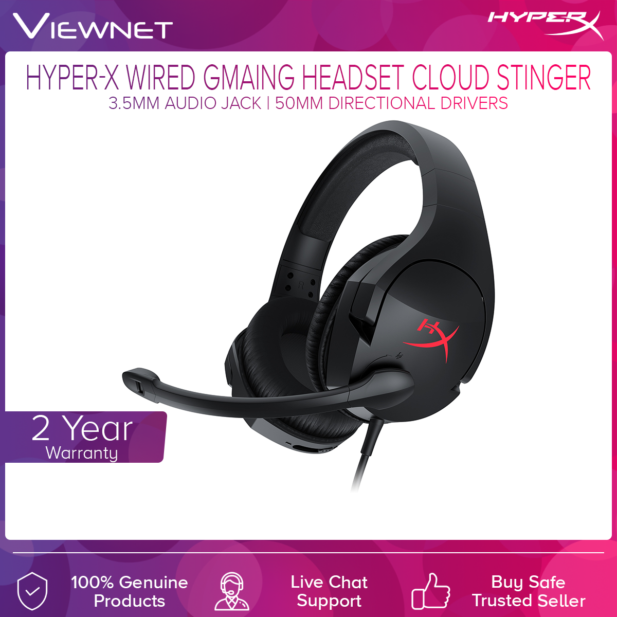 HyperX Cloud Stinger for Gaming Headset (HX-HSCS-BK/AS), Lightweight, 90° rotating ear cups, Immersive in-game audio, Noise-cancellation microphone