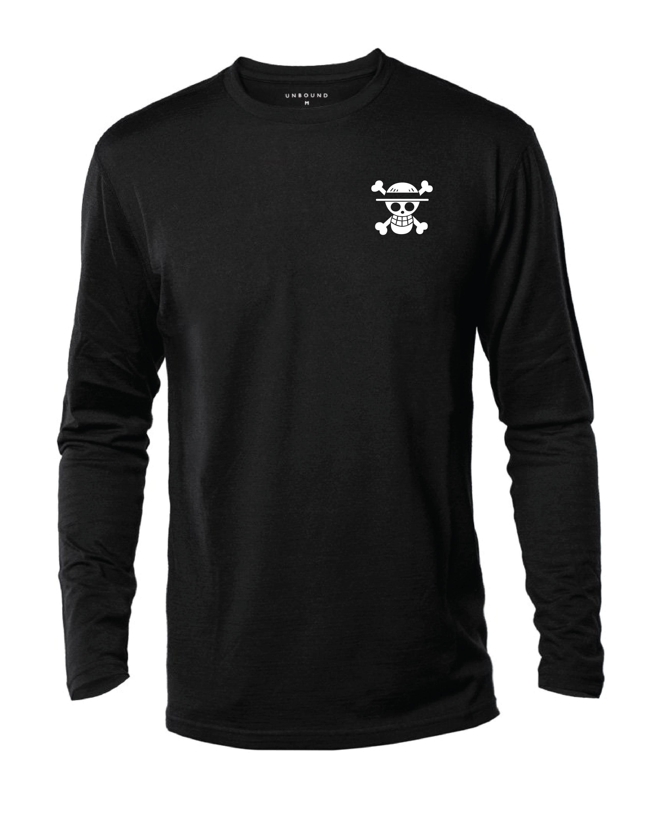 T-Shirt ONE PIECE Left Logo Lengan Panjang 100% Cotton Baju Tshirt Black White Hitam Putih Bossku