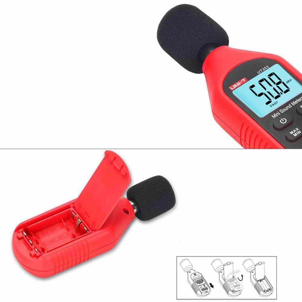 UNI-T UT353 Mini LCD Display Digital Sound Level Meter Noise Measuring Instrument Decibel Monitoring Tester 30-130dB (Standard)