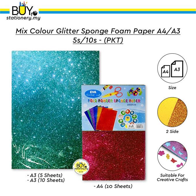 Mix Colour Glitter Sponge Foam Paper A4/A3 5s/10s - (PKT)