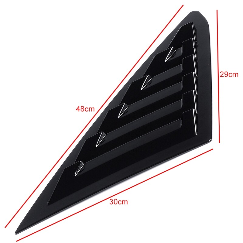 Car Stickers - 1 Pair Window Louvers For Ford Mustang 2011- Side Window Scoop Cover Tape - CARBON / MATTE BLACK / BLACK