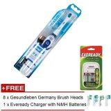 Braun Oral B Electronic Tooth Brush + NiMH Eveready Charger + 2 Batteries + 8 Replacement Brush Heads
