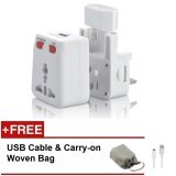 Buy 1 Free 2: 1 All-in-One Universal Travel Adapter Free 1 USB Cable & 1 Carry-on Woven Bag