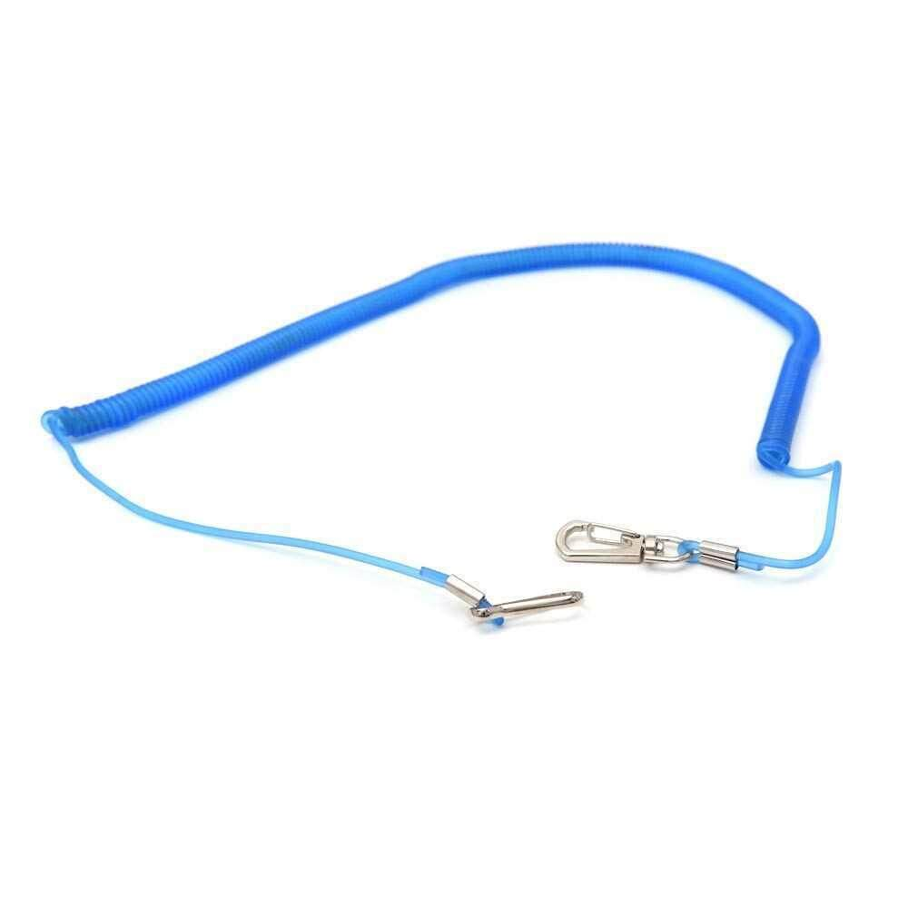 1PCS 5m Coiled Fish Missed Rope Fish Pole Rod Protector Elastic Plastic Rope Line Fishing Tackle (blue)