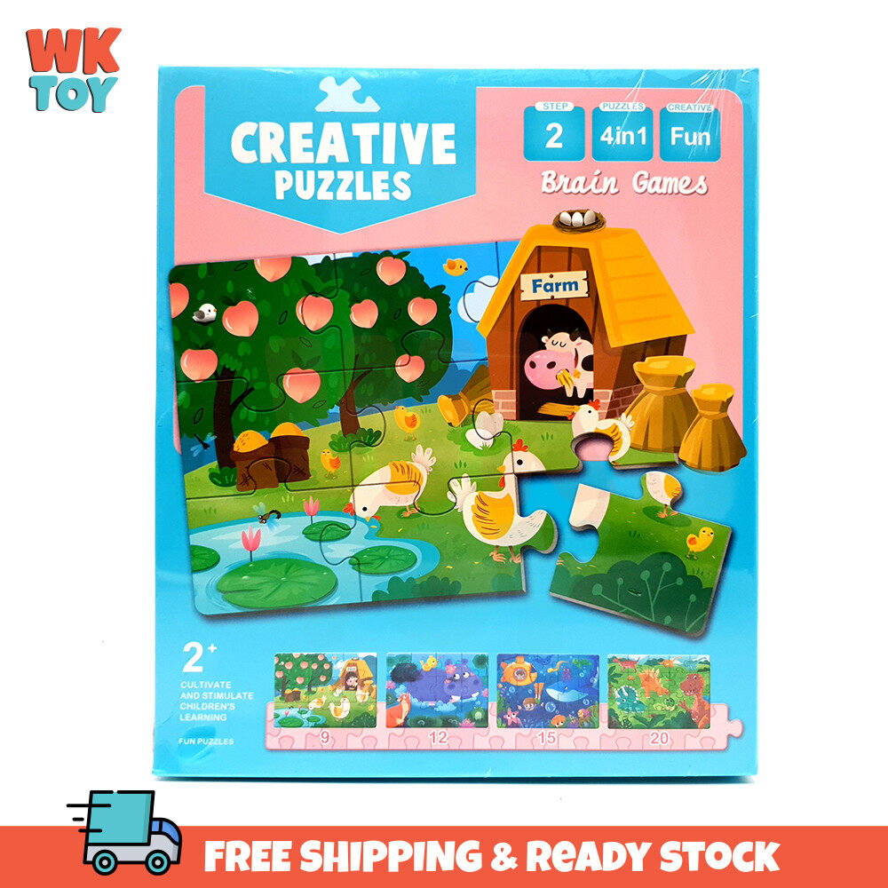 WKTOY 4 in 1 Step 2 Creative Puzzles Cartoon Fun Brain Games children early education for Kid Learning Toy