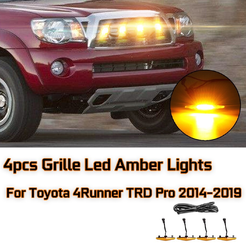Car Lights - 4 PIECE(s) Grille Led Amber Lights Drive Lamp For Toyota 4Runner TRD Pro 2014- - Replacement Parts