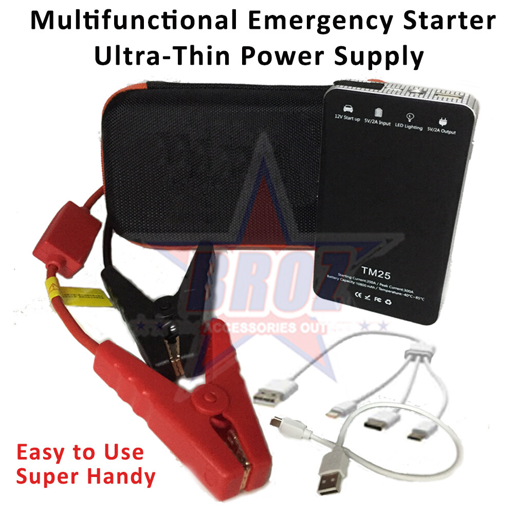 New Handy Multifunctional Emergency Start Power Supply Ultra-Thin Power Bank Jump Starter Pengecas Kereta Bateri Automobile