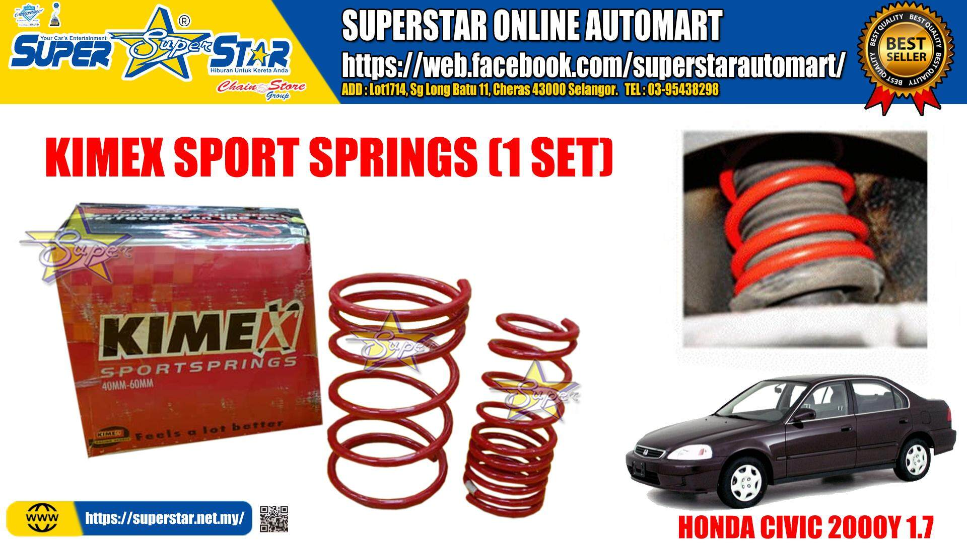 KIMEX SPORT SPRINGS HONDA CIVIC 2000y 1.7 (1 set)