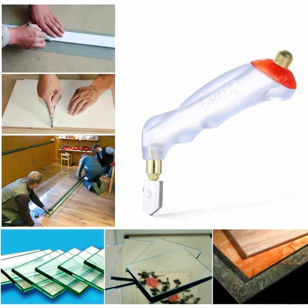 Handheld Glass Cutter Oil Feed Ceramic Tile Opener Cutting Thickness 10mm Diamond Cutter Head Manual Tile Glass Opening Breaking Tool for Decroration DIY Craft (Transparent + Red)