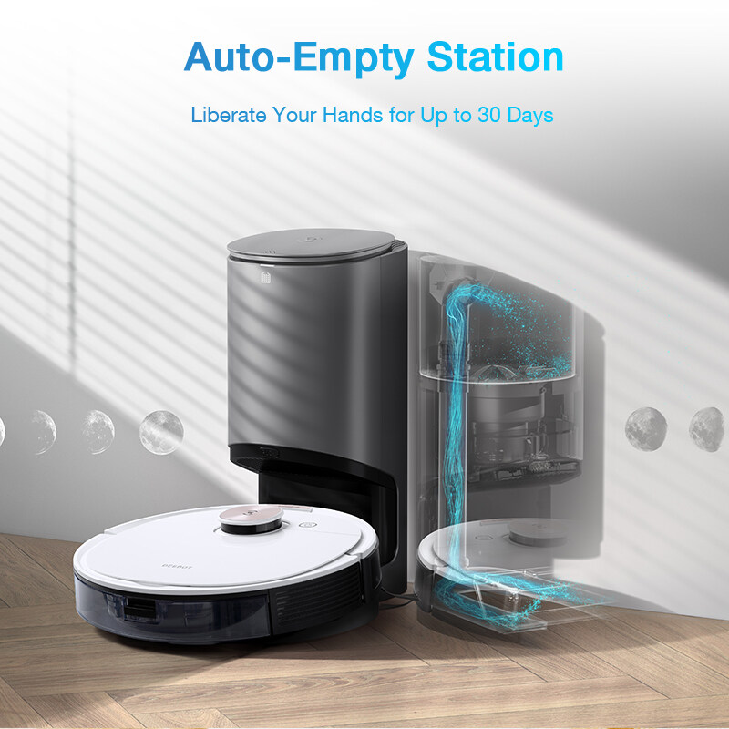 ECOVACS DEEBOT OZMO T8+ Robot Vacuum Cleaner with【Auto-Empty Dustbin】OZMO Mopping Technology 180min Working time Intelligent Robotic Vacuum and Mop Vacuum [Local Shipping & 1 Year Warranty]