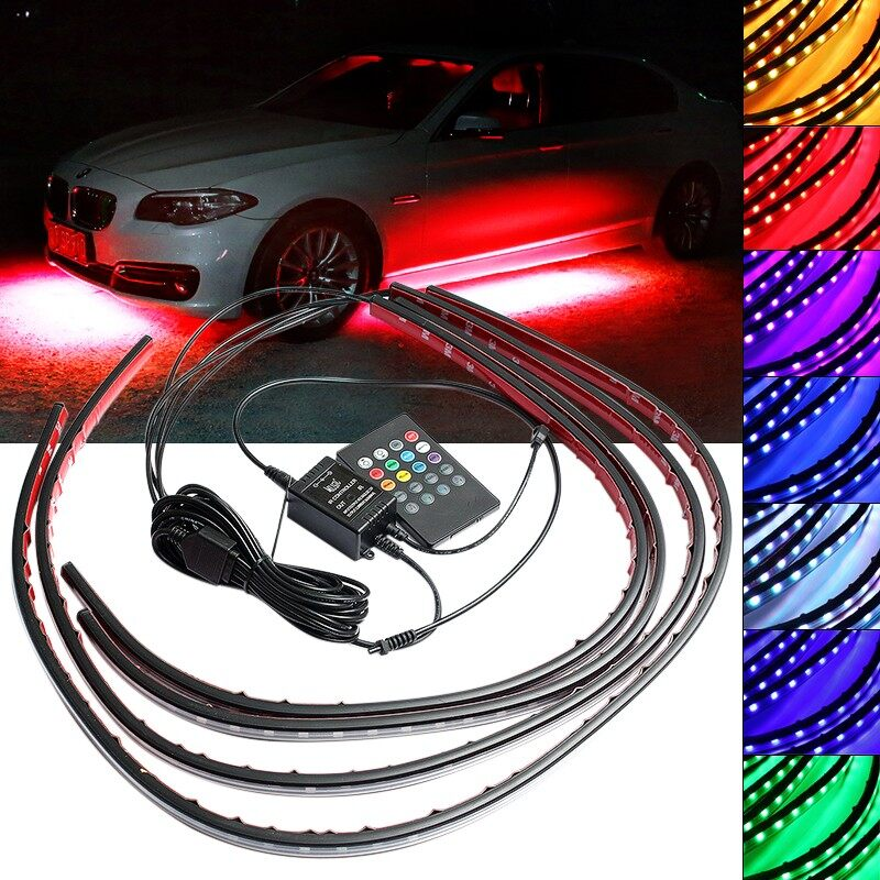 USB Light - RGB LED Undercar Underbody Underglow Kit Neon Strip Under Car Glow Light - Cool Gadgets
