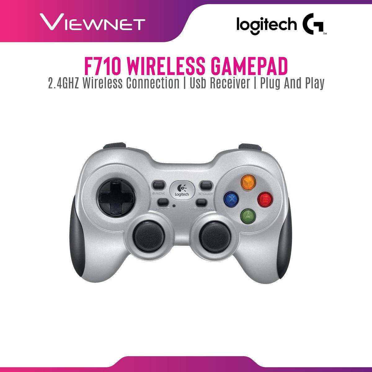 Logitech F710 Wireless Gamepad with 2.4GHz Wireless Connection, Dual Vibration Feedback Motors, Exclusive 4-Switch D-Pad, Plug and Play