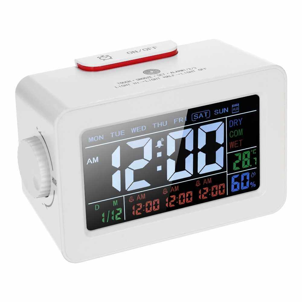 LCD Digital Thermometer Hygrometer Clock ?/? Temperature Humidity Meter 3 Alarm Clocks Snooze Backlight Color Screen Display with Switchable Backlight (White)