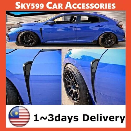 Universal Black Style ABS Side Fender Vent Air Wing Cover Trim