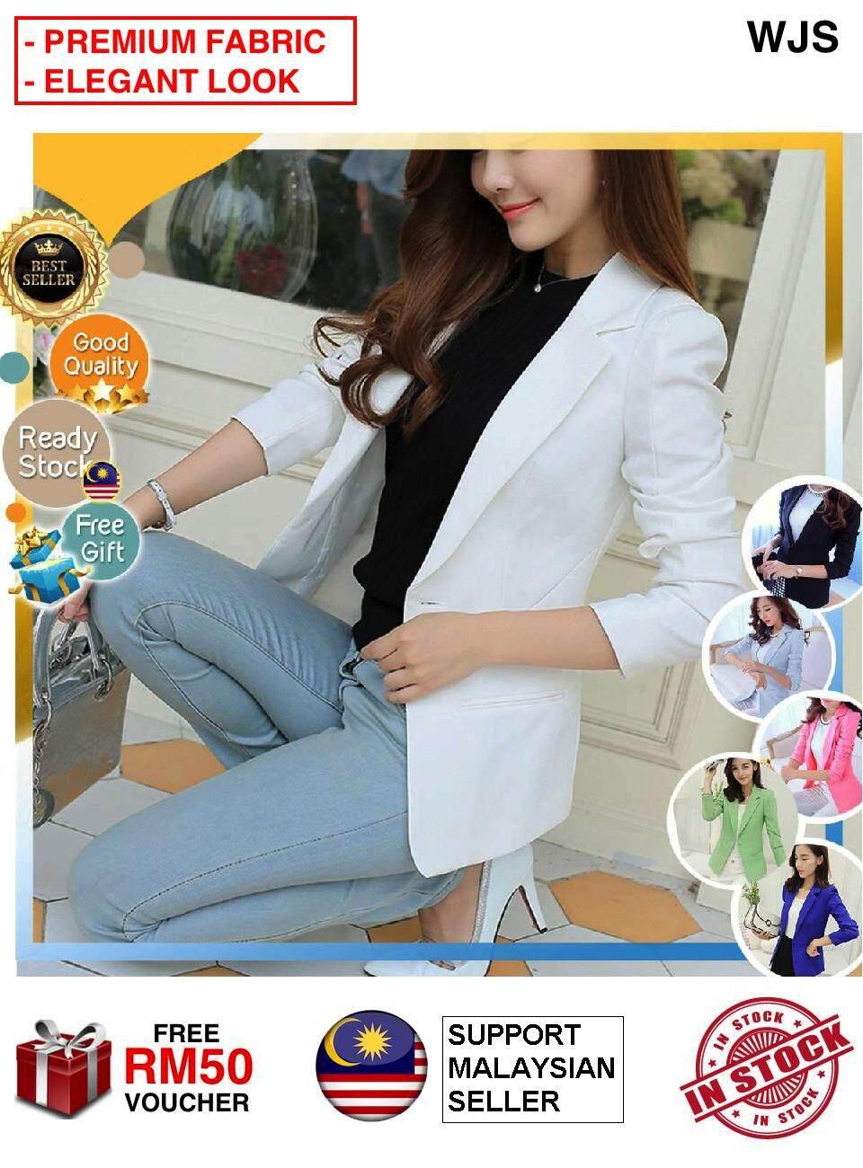 (PREMIUM FABRIC) WJS 2020 Women's Slim Fit Coat Stylish One Button Suit Coat Jacket Business Formal Smart Blazer High Quality OL Office Blazer MULTICOLOR [FREE RM 50 VOUCHER]