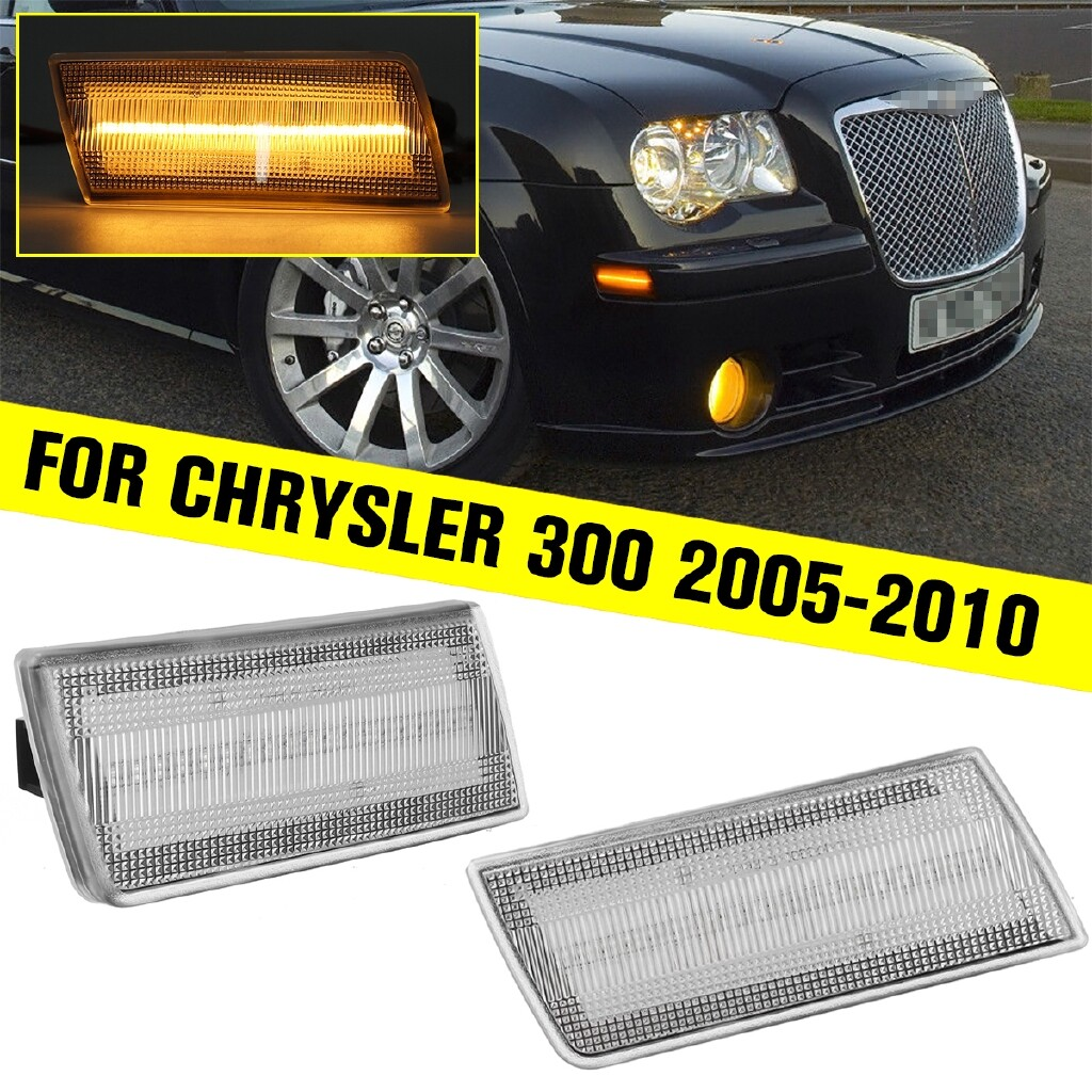 Car Lights - 2 x LED Side Marker Lights Left and Right Clear Lens Optic Front LED Side Marker Lights For - Replacement Parts